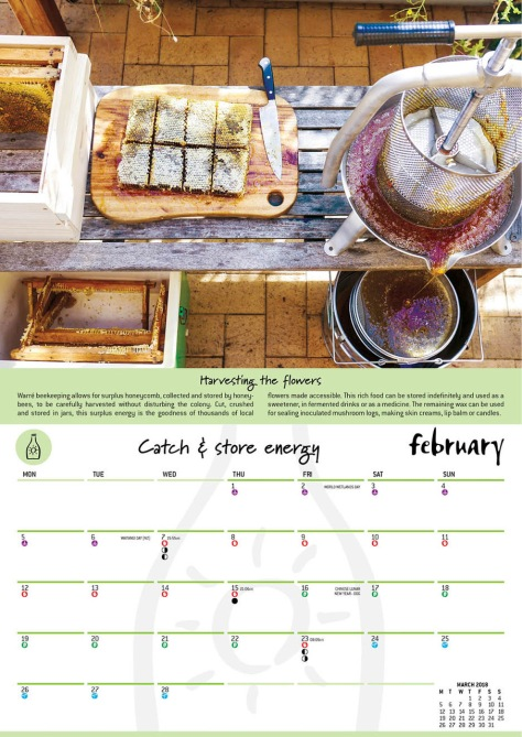 2018 Permaculture Calendar spread 2